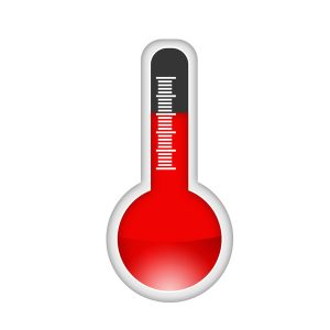 red and black thermostat icon