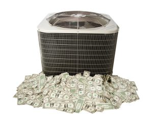 outside unit of an air conditioner sitting on pile of money